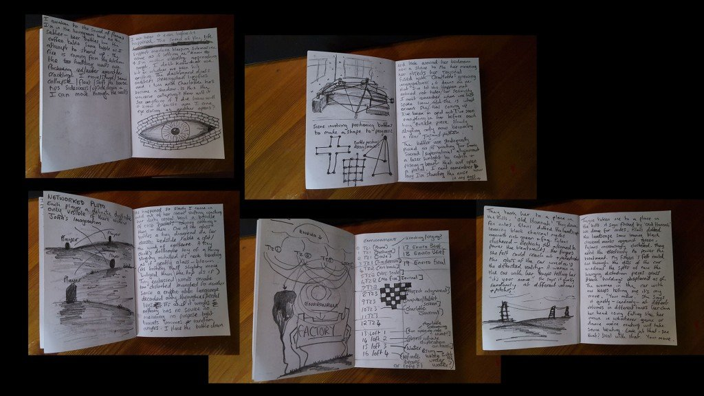 Photos of Andy Campbell's A6 Pluto notebook containing rough ideas and thoughts about the work
