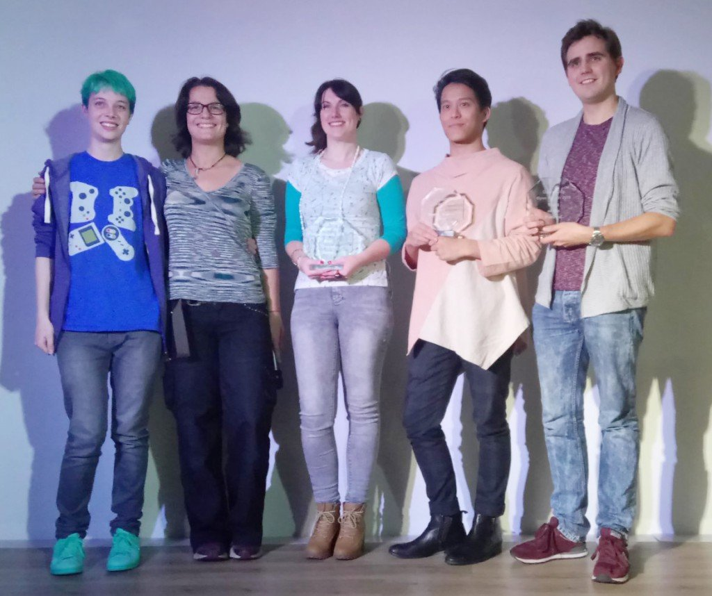 Tam, our lovely Producer, accepting the Award on behalf of myself and Andy [she's dead center in the Winner line-up].